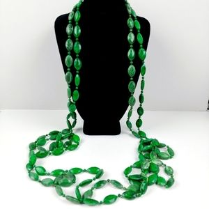 """Vintage jade green faceted bead necklace 46"""""""